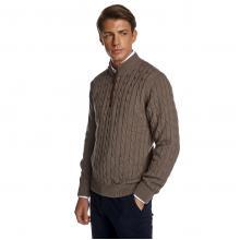 Πλεκτή Βαμβακερή Μπλούζα με Φερμουάρ και Alcantara Λεπτομέρειες σε Σκούρο Μπεζ Χρώμα Guy Laroche GL2029208_11